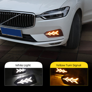 2ST LED Tagfahrlicht für Volvo XC60 2018 2019 Flowing Blinkerfunktion 12V Auto-DRL Nebel-Lampe Nachtblau