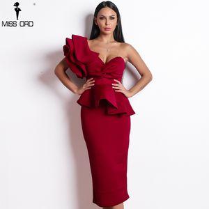 Missord 2019 Kadınlar Seksi Bodycon Kapalı Omuz Bandaj Elbiseler Kadın Ruffles Backless Zarif Kulübü Elbise Vestido Tb0020 MX19070201