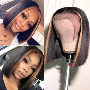 Colored Ombre #27 Highlight Honey Blonde Brown Lace Front Human Hair Wigs For Women Short Straight Bob Remy Brazilian Plucked