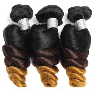 3 Bundles With Closure Peruvian Loose Wave Hair T1b 4 27 Malaysian Virgin Hair Weft Ombre Indian Human Hair Brazilian Loose Curly Extensions