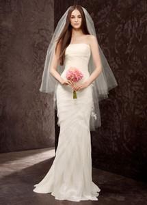 Court voile de mariée en dentelle Peigne Accessoires de mariage Tulle deux couches 110 CM Hip Longueur 2020 Blanc Ivoire mariage voile