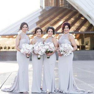 Zarif Dantel Mermaid Uzun Gelinlik Modelleri Halter Illusion Sweep Tren Ülke Stil Hizmetçi Onur Elbise Saten Ucuz Düğün Konuk törenlerinde