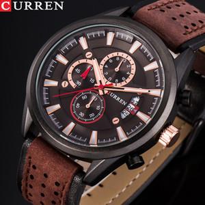 CURREN Marke Luxus beiläufige Militärquarz-Sport-Armbanduhr-Lederarmband Männer Uhr Chronograph Datum Herrenuhren