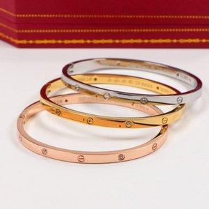 versión estrecha de las cinco generaciones de rosa pulsera del oro 18k moda par de pulseras de acero de titanio para los hombres y mujeres de regalo de joyas b