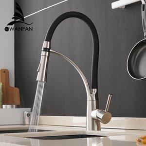Torneiras Cozinha Mixer LED torneira da pia de bronze níquel escovado Torneira Tap Torneiras de cozinha Hot Fria Deck Montado Bath Mixer Tap 7661