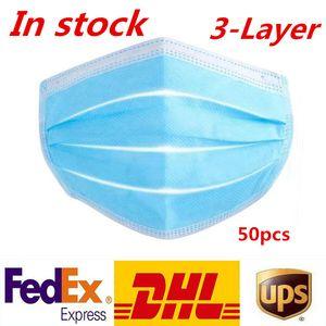 Freies Verschiffen 3-7 Tage nach US Einweg-Gesichtsmasken mit elastischem Ohr Loop 3 Ply atmungsaktiv für Blocking Staub-Luft-Anti-Staubschutzmaske