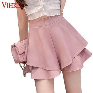 VIHKLC cremallera con gradas del verano pone en cortocircuito 2020 New Street Rosa Chic pantalones cortos de cintura alta pierna ancha mujeres con gradas elegante Bottoms T595