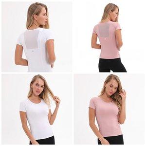 Lu Kadın Casual Egzersiz Üst Kısa Kollu Katı Mürettebat Boyun Spor Giyim T Shirt Rahat Yoga Gömlek Kazak Giyim 3 Colours 52ly E19