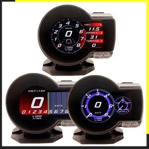 Indicateurs Boost jauges Profession Magicien OBD2 F835 Head Up Display Boost Gauge numérique de voiture compteur de tension Vitesse Température de l'eau Alarme huile automatique