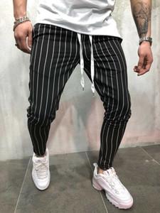 Мужчины полосатый с длинным свободного покроя брюки приталенный Fit узкие городских бегунов брюки тренировочные брюки в полоску мужской Харлан брюки