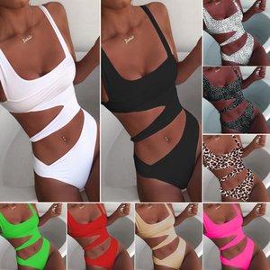 Летний Новый Женщины Цельный Pure Color Бикини Вырез Multicolors европейских и американских Ветер SLi Fit Swimsuits Sexy