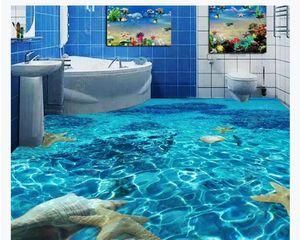 Peinture de plancher de papier peint murale autocollante personnalisée en PVC en 3D Clear Sea Water salle de bains chambre