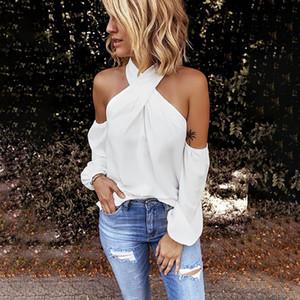 Sólido de la manera de la blusa halter del hombro ocasional de las señoras de otoño de fondo tapas flojas hembra de la camisa de manga larga Mujeres Blusas Pullover