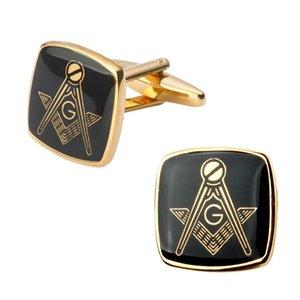 Высококачественный медный Запонки Simple Gold Black Bottom масонской мужской костюм Daily аксессуары Подарки французская рубашка Square Манжета ссылки