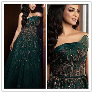Strapless Ballkleider plus Größe formales Abendkleid wulstige Appliqued elegante Abend-formale Kleider 2020 Roben de soirée