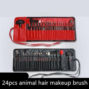 DHL 24pcs шерсти профессиональный макияж кисти набор визажиста Макияж кисти Кисти Инструмент Фонд Тени для век для губ с PU сумка