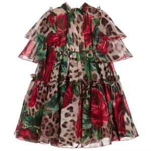 Alta qualidade 2.020 crianças nova Birthday Party Cosplay Vestido Costume Baby Kids roupa da menina vestir meninas miúdos Princesa do leopardo flor Vestido