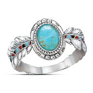Готовый Stock Роскошный Овальный Бирюзовая Драгоценное кольцо женщин богемское перо Стиль 925 Серебряное кольцо ювелирные подарки для партии годовщины