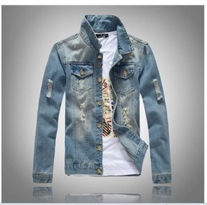 Alta qualidade da marca de moda jeans masculina primavera Jacket Shrashed denim manga longa magro azul denim jedded lapela wacket remendo COAT encabeça Outerwea