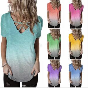 Gradyan Baskılı Tişört Dişiler Artı boyutu Casual Bayan V yaka Göğüs Tali Yaz Tasarımcı Rainbow Tops