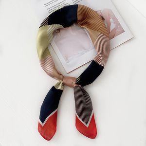 Les femmes de soie 70cm 2020 nouveaux élégants chics petits foulards carrés de couleur couture professionnelle bandeau losange foulard décoratif