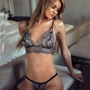 2019 Women Sexy Lingerie Exotic Sets Lace Bra+G-string 2pcs Thong Set Ladies Deep V neck Babydolls Sleepwear Underwear Nightwear