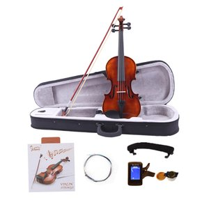 Glarry 4 4 Classic Solid Wood Violin Case Bow Violin Strings Rosin Shoulder Rest Electronic Tuner