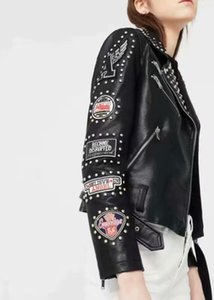النساء برشام جلد معطف زيبر PUNK روك الظلام المعدنية تصحيح التطريز سترات الفرقة ازياء مدرج مشاهدة