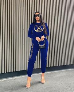 2 Zweiteiler Long Sleeve Top Pants Women Patchwork Anzug beiläufigen Ausstattung Sport Anzug Frauen Tracksuits CC23
