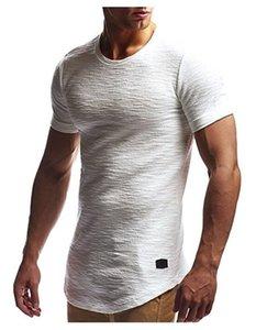 Mens progettista magliette di modo irregolare Hem Natural Color T casuali girocollo Slim manica corta Tees