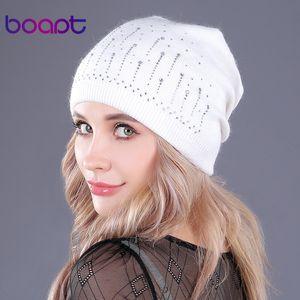 [Boapt] dicke Wolle stricken Falten Mützen Mode Herbst Winter warme Hüte für Frauen skullies Beanies Hut weiblich Mütze T191030 Strass