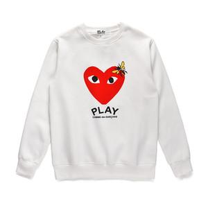 가을 새로운 도매 남성의 하트 프린트 캐주얼 플러스 벨벳 풀오버 후드 연인 스포츠 힙합 느슨한 라운드 넥 스웨터