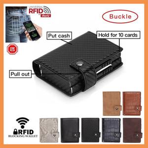 Double Wallet Aluminium RFID Blocking Metal Women Card Holder Credit Case Men Card ID Holder Side Push