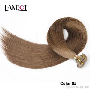 İnsan Saç Uzantıları 90pcs 225g 18 inç Düz Virgin Brezilyalı İnsan Saç Cilt atkıların PU Bant Saç Orta Kahverengi Renk Best 10A Bant