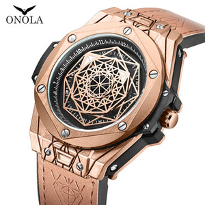 ONOLA Luxusmarke Kreatives Design Quarz-Mann-Uhr 2019 wasserdicht Analog-Legierung Gold Armbanduhr Stil Mode für Männer stieg beobachten
