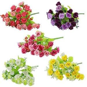 Wholesale- 1 Bouquet 21 Head Artifical Fake Rose Weeding Party Home Decor Silk Flower 7JWU