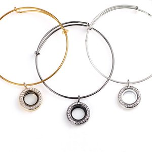 NEW Locket Bangle&Bracelet 20mm Can Open Glass Floating Memory Round Charm with Rhinestone Fashion Alloy Bangles for Women Girl Jewelry Gift
