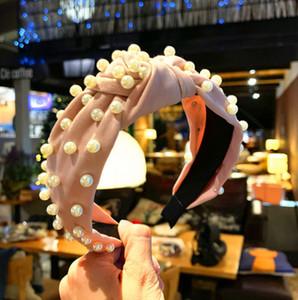 Boutique dei capelli della perla attacca panno corallo solida annodato fascia per capelli per le donne fasce dei capelli delle ragazze di stile Vintage Accessori Hairband F10258