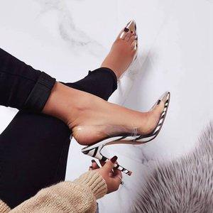 Alluring2019 Sandals Ma'am Ins Cool Transparente Pvc Stripe Leopard Print Fine Super High con zapato