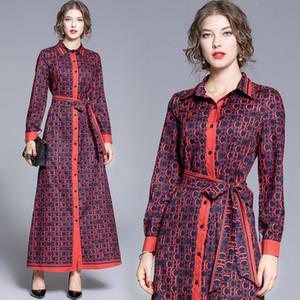 Top Hot Hermosa camisa de las mujeres del vestido largo del tamaño extra grande Robe señoras de lujo de partido ocasional floja botón Fajas arco Una línea Maxi vestidos de manga larga