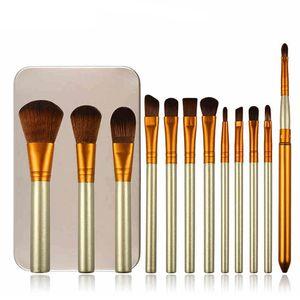 Professional Makeup Brush Set in Box NUDE Luxury Makeup Brushes for Eyeshadow Blusher 12 Pcs Cosmetic Tool Kit