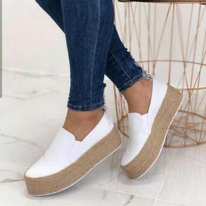 Dihope blanca zapatillas de deporte zapatos de mujer plana resbalón ocasional en los zapatos de los holgazanes de la plataforma 2020 de las nuevas señoras de verano perezoso