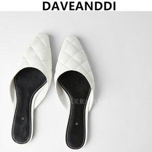 Zapatos de verano de las mujeres zapatos planos ins mulas mujer Davedi 2020 Hilo de coser blogger de moda de la vendimia deslizadores de las mujeres
