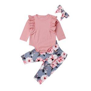 Pudcoco Nouveau-né Enfants Bébés filles Cotton Flower Top Romper Pantalons Tenues Vêtements Set bébé