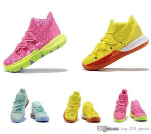 جدي جديد أطفال Kyrie 5 الكرتون الرياضة أحذية رياضية أحذية صفراء الوردي بنين لكرة السلة منخفضة كيري إيرفينغ 2 الأعلى بيع بوب Eponge شحن مجاني