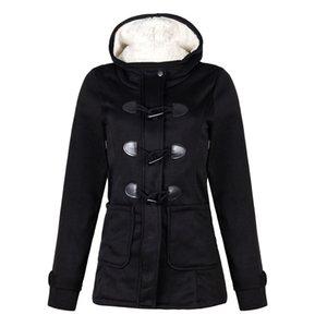 Esplosione di modo delle donne del cappotto del rivestimento hoodies Large Size Womens Corni Jacket Buckle Pocket con cappuccio a maniche lunghe Women S-5XL Size