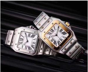 Casual Men Square orologi di Ginevra in acciaio inox genuina quarzo Moda Uomo Orologi da polso maschile 067