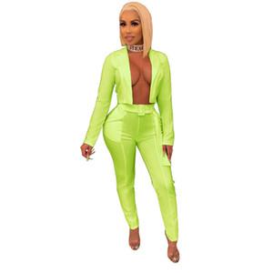 Женщины Блузы Набор естественный цвет двух частей штаны моды с длинным рукавом Короткие Блузы Top Длинные брюки