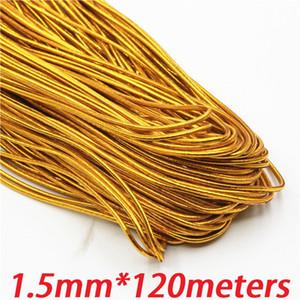 1,5 mm de oro elástico elástica cable de cuerda cuerda cuerda trenzado redondo de 120 metros / cables de rodillos para encontrar las joyas