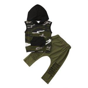 Tout-petit Enfant garçon Vêtements Camo manches capuche Débardeur Ripped Harem creux Green Pants Set Mode Tenues